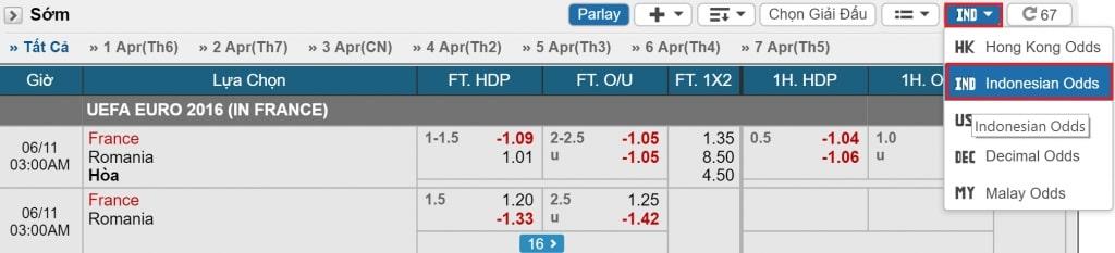 Odds Indo