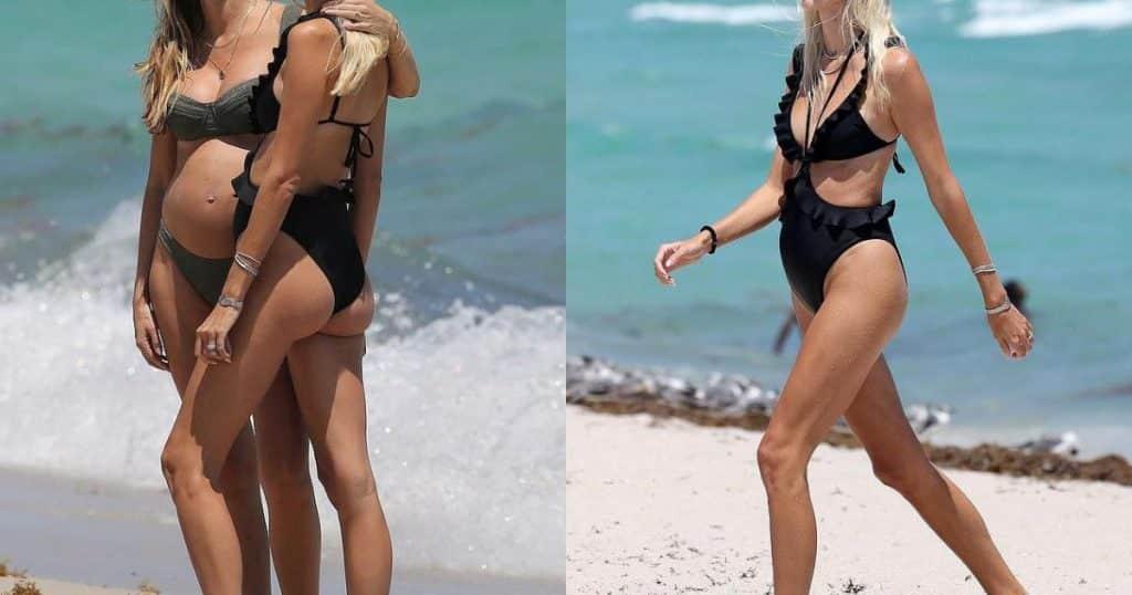Siêu mẫu nội y Devon Windsor đi tắm biển, khoe bụng bầu giữa thai kỳ - Người đẹp