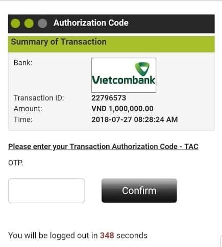 otp, sms otp, otp sms, chuyển tiền online, gửi tiền online, xác nhận mã OTP ngân hàng, vietcombank